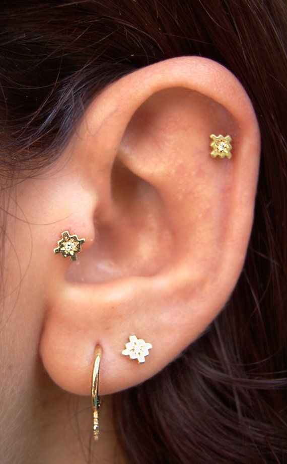 Gold Tragus Helix Cartilage Earrings Diamond Solid And Tiny Stud Small Earring Black White