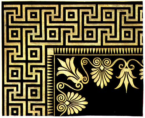 [Ancient] Greek Marble Mosaics 1: Olympia    One corner of a gold-on-black border for a mural, with urns and pineapples.    http://www.fromoldbooks.org/