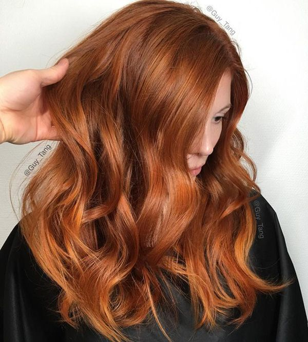 balayage ginger hair color