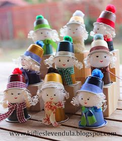 Cute little people - great way to re-use those coffee k-cups (or use little plastic shooter cups)