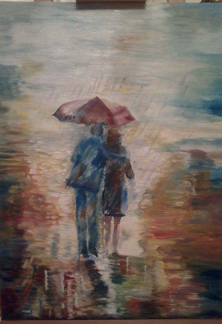 Walking in the rain. Oil on canvas by Litsa Raftopoulou