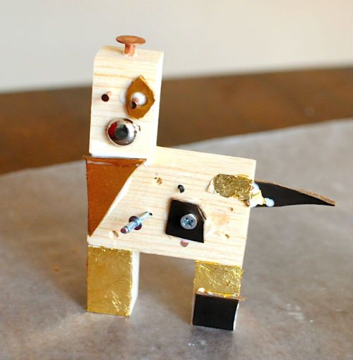 Wood blocks and gold leaf combine to form the best gilded robot project ever. Your kids will have tons of fun with this one.