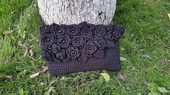 Black hand bag with flowers CatanaHandmade purse by CatanaHandmade