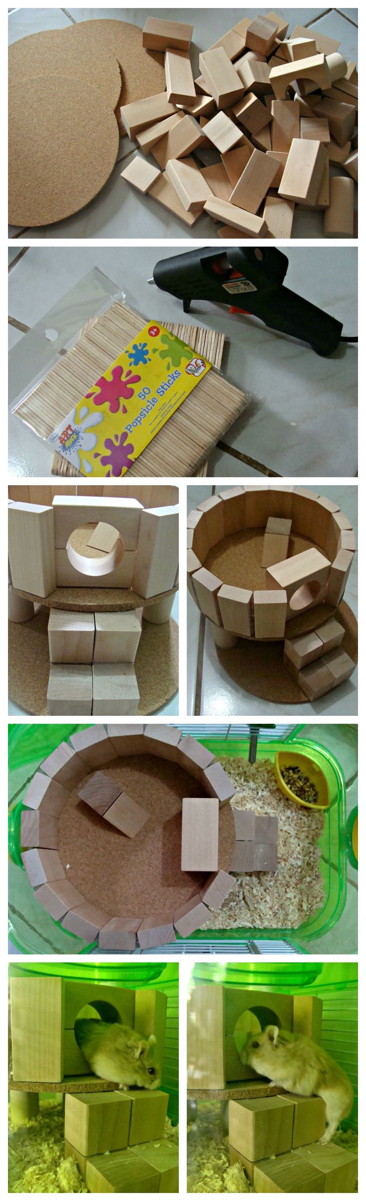 DIY Hamster Play House. Bought the wooden blocks from the flea market. The cork pot holders and popsicle sticks from a local store. Glue them all away and now Mr. Bilbo Baggins and Ms. Hammie Roo have a new house. *wink*
