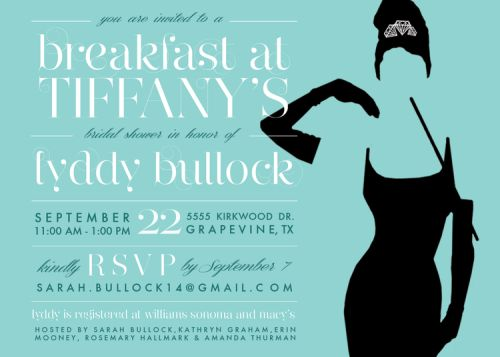 Breakfast at Tiffany's Bridal Shower Invitation | Bridal Brunch | Audrey Hepburn | Lingerie Shower | Bride | Wedding | Rosemary on the TV #invitation #design #wedding