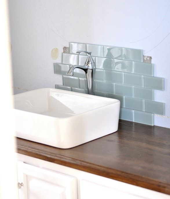 Centsational Girl | staining and sealing wood counters for bathroom installation