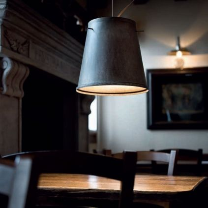 Stunning Italian bucket-style pendant light, handmade from Iron and expertly aged. This pendant is effortlessly versatile and suits rustic, modern or industrial interior styles - just to name a few!