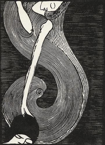 Josef Váchal. Pilgerfahrt der kleinen Elfe, 1911, Holzschnitt.