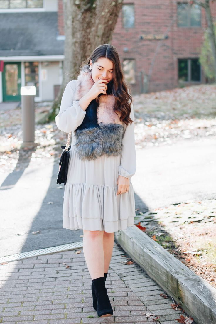 Holiday Style Series: Pleated Dress + Faux Fur Stole - My Sweet Genevieve