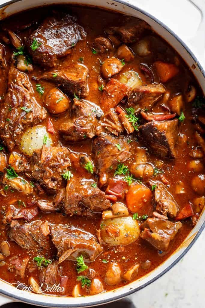 Beef Bourguignon (Julia Child Recipe) Tender fall apart chunks of beef simmered in a rich red wine gravy makes Julia Child's Beef Bourguignon an incredible family dinner. Julia Child's Beef Bourguigno