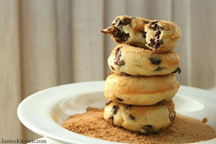 Banana Chocolate Chip Baked Doughnuts by Janie's Kitchen