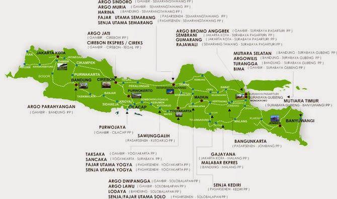 PORTAL INFORMASI - RENTAL MOBIL JOGJA | YOGYAKARTA: Peta Jalur dan Nama Kereta Api di Pulau Jawa
