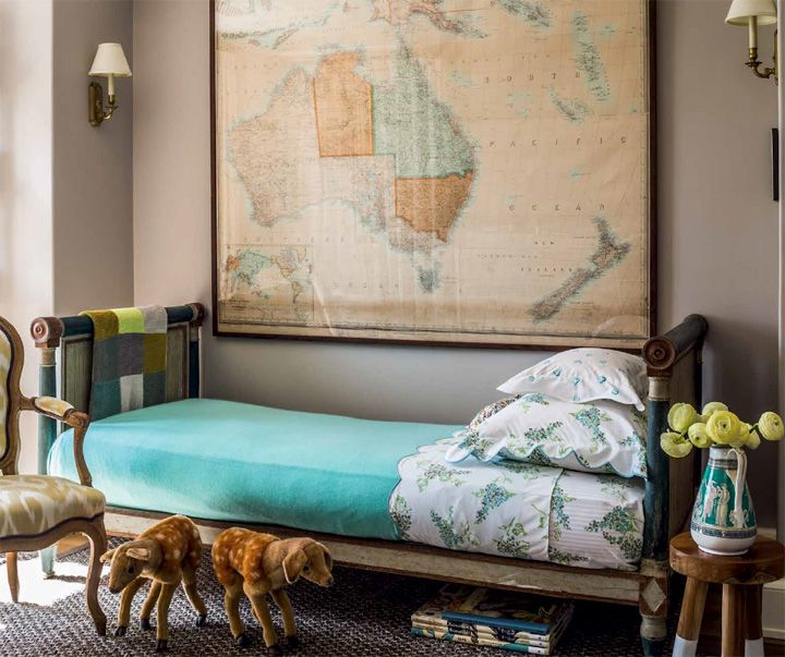 A kid-friendly guest room by Emma Jane Pilkington, with delightful bed linens by D. Porthault.