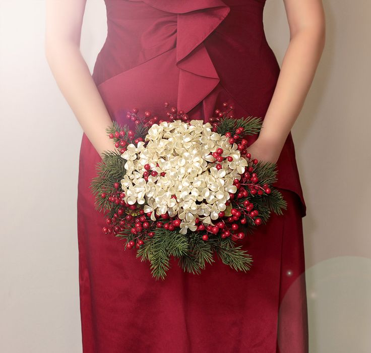 Christmas Bouquet - Winter Wedding Holiday Bridal Bouquet with Pearl Flowers - Wedding Bouquets