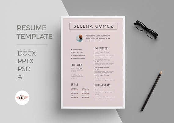 Elegant CV and Cover Letter template/ professional cv template/ Creative Cv / Modern Cv / Instant Downlaod / 1 page resume / creative CV