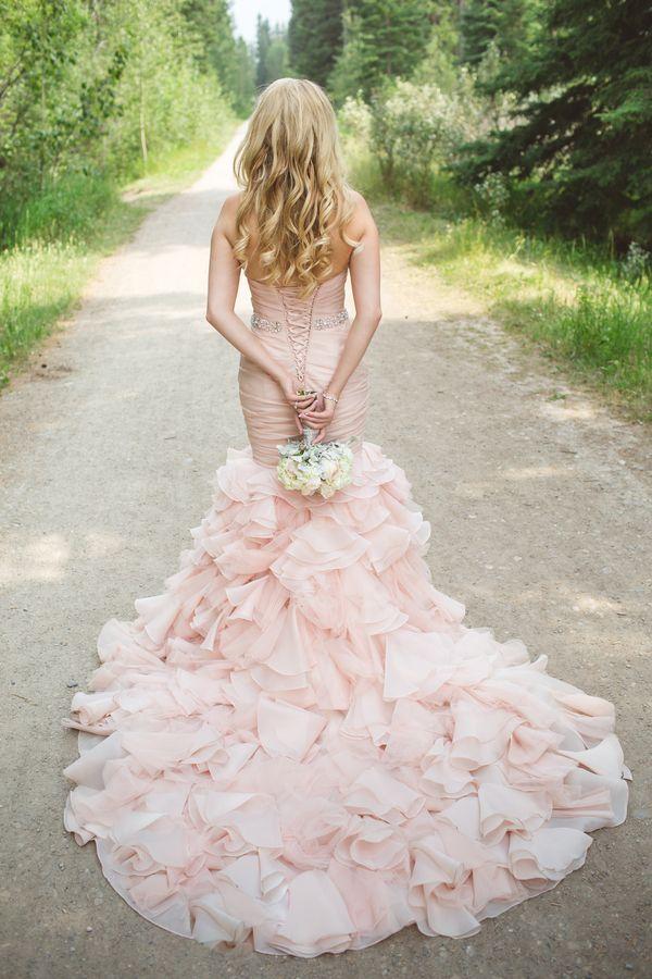 Stunning Ruffled Blush Wedding Dress | Janine Deanna Photography | Glamorous Pink and Gray Mountain Wedding with a Blush Wedding Dress