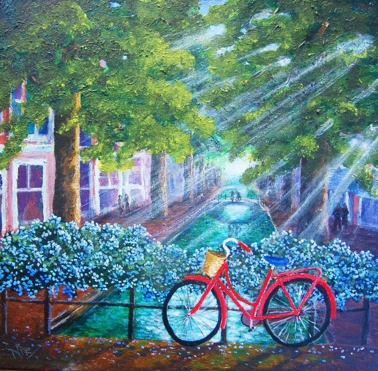 Red Bicycle in Gouda Stretched Canvas 40X40cm $80