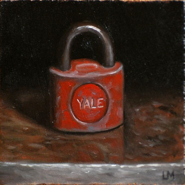 Fine original oil paintings by Linda Merchant.  Go to http://lamgallery.etsy.com/ to find out how to purchase this or many other original works of art!! New to lamgallery on Etsy: Original Oil Painting Yale Lock on Stone 4x4 L. Merchant SFA Fine Art Miniature Hand Painted Oil Painting Still Life OOAK (125.00 USD)