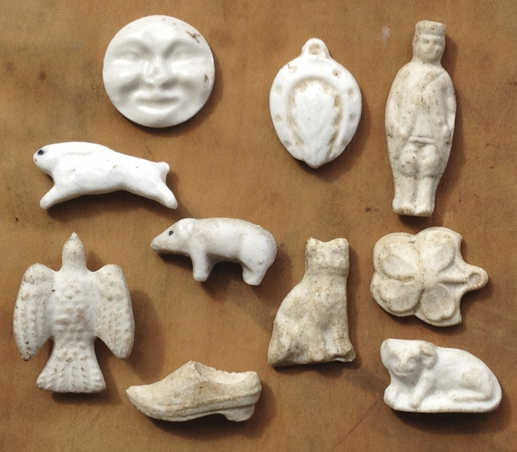 Early version of the King Cake Baby... A small collection of nineteenth century French feves forgalletes des rois. These now then to be made from plastic.