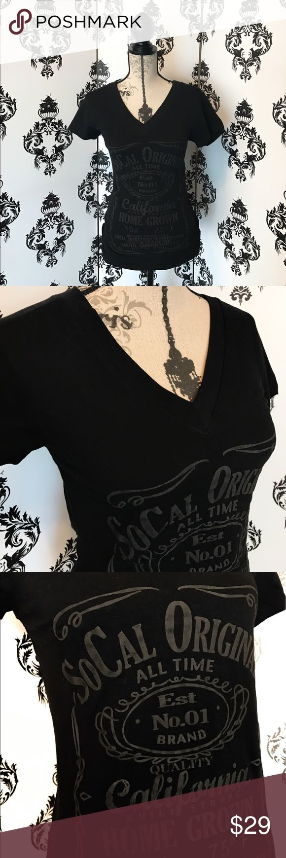 NWT! 🍀 So Cal Jack Daniels Style shirt! This shirt is so stylish and cool with the Jack Daniels style label printed on the front. The font  is a puffy raised 3D style grey font. The shirt is stretchy for a great fit! Brand new with tags! Smoke free home. Tops Tees - Short Sleeve