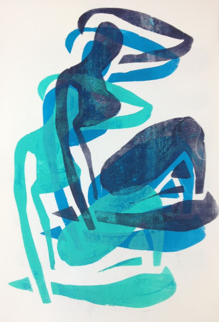 "Monoprint by Henri tte Pentenga ""inspired by Matisse blue """