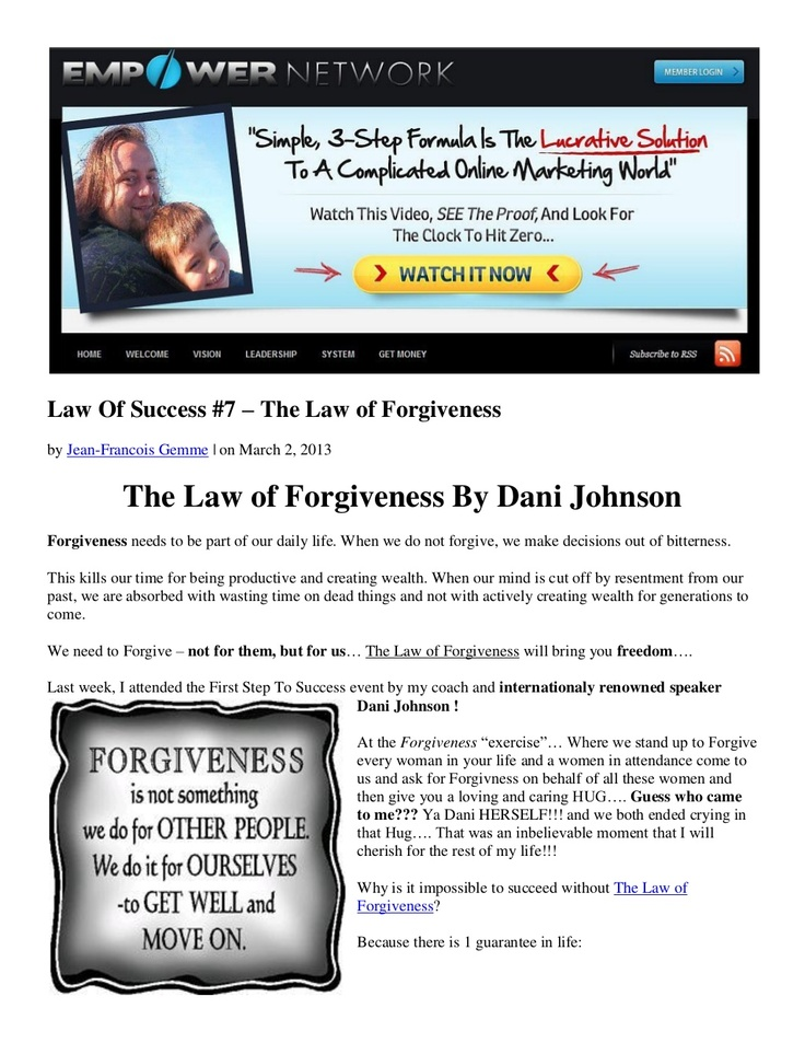 law-of-success-7-the-law-of-forgiveness-by-dani-johnson by Jean-Francois Gemme via Slideshare
