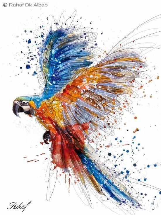 Designs digitais e aquarelas nas ilustrações de Rahaf Dk Albab