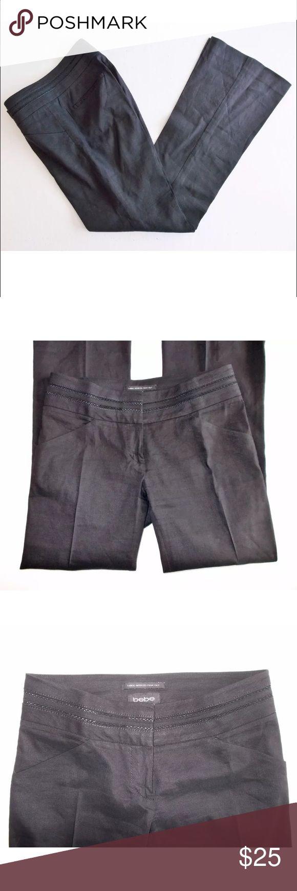 "bebe Women's Linen Dress Pants Stretch Size 2/P bebe Women's Linen Stretch Dress Pants Size 2/P Black Straight Leg BootCut Slacks! Pre-Owned! Excellent Condition!! Inseam 31"" bebe Pants Straight Leg"