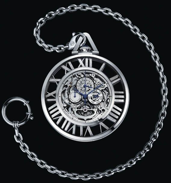 Cartier Skeleton Pocket Watch (Grand Complication); Limited Edition 10 pieces (5 diamond-set pieces also to be produced); 59mm white gold case, mechanical hand-wind Calibre 9436 MC (Renaud et Papi, tourbillon+perpetual calendar+monopusher chronograph movement)