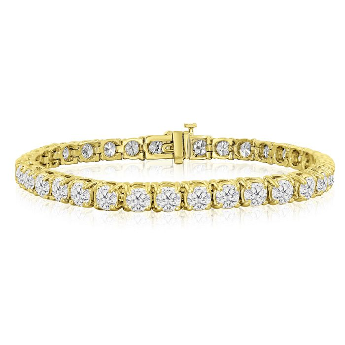 8 5 Inch 14k Yellow Gold 17 G 13 1 2 Carat Tdw Round Diamond Tennis Bracelet By Superjeweler Tennis Bracelet Diamond Jewelry Bracelets Silver Sterling Silver Bracelets