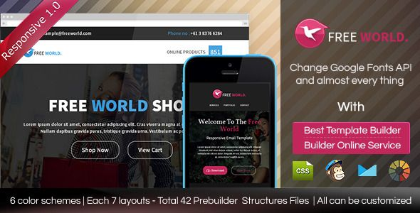 FREEWORLD - Responsive Email Template With Builder