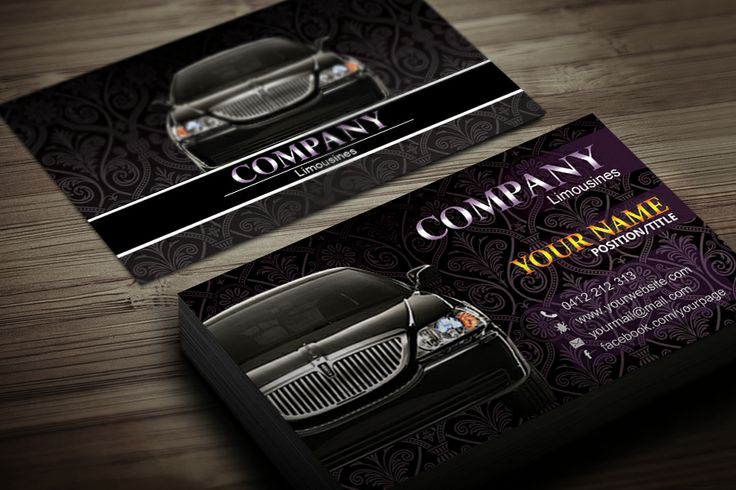 Limousine business card template black business card for Limousine business cards template