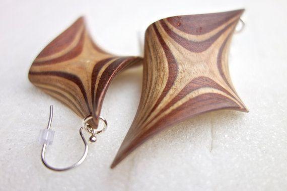 Wood Handmade twisting earrings individual unique by JanosToldik