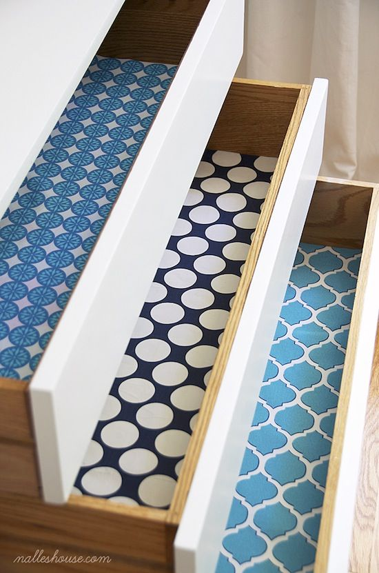 Decorate the inside of your drawers with fabric - just use Mod Podge