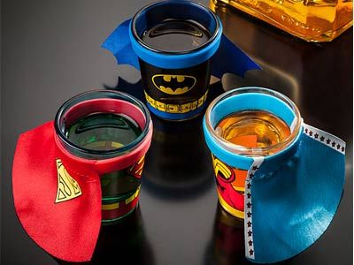 Caped Shot Glasses: Capes Shots, Shots Glasses, Superhero Shots, Dc Comic, Dccomic, Comic Capes, Superheroes, Super Heroes, Shot Glasses