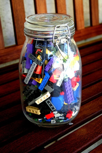 Lego in a Jar Game! Genius! ;)  How many lego are in this jar?      Did you guess 496?