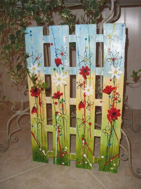 Folk art painted pallet – would make a lovely gate…