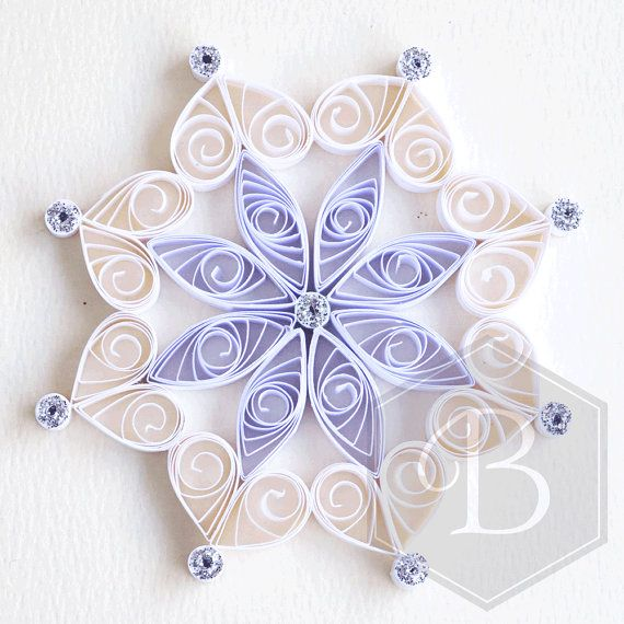 Quilled snowflake tree decoration, Christmas decoration, Holiday ornament, Stocking stuffer, White decoration