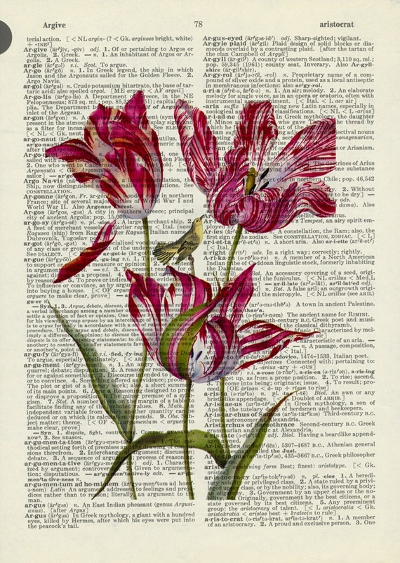 vintage tulip printed on dictionary page