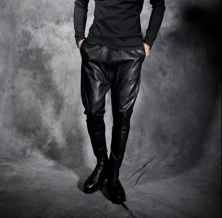 Punk mens motorcycle leather pants men skinny pants personality vintage drawstring slim pants male beam harem pants men trousers