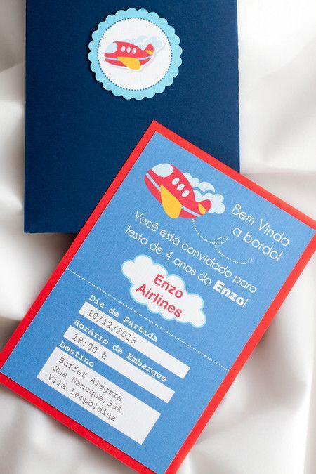 Convite de Festa Infantil Avião                                                                                                                                                      Mais