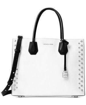 ca260225eacf Michael Michael Kors Studio Mercer Stud Large Convertible Tote - White  #leather #handbags tote #Handbagsmichaelkors
