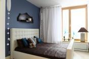 Aranżacja sypialni wystrój nowoczesny, romantyczny w kolorach biały, niebieski - projekt wnętrza #5563895, Homplex