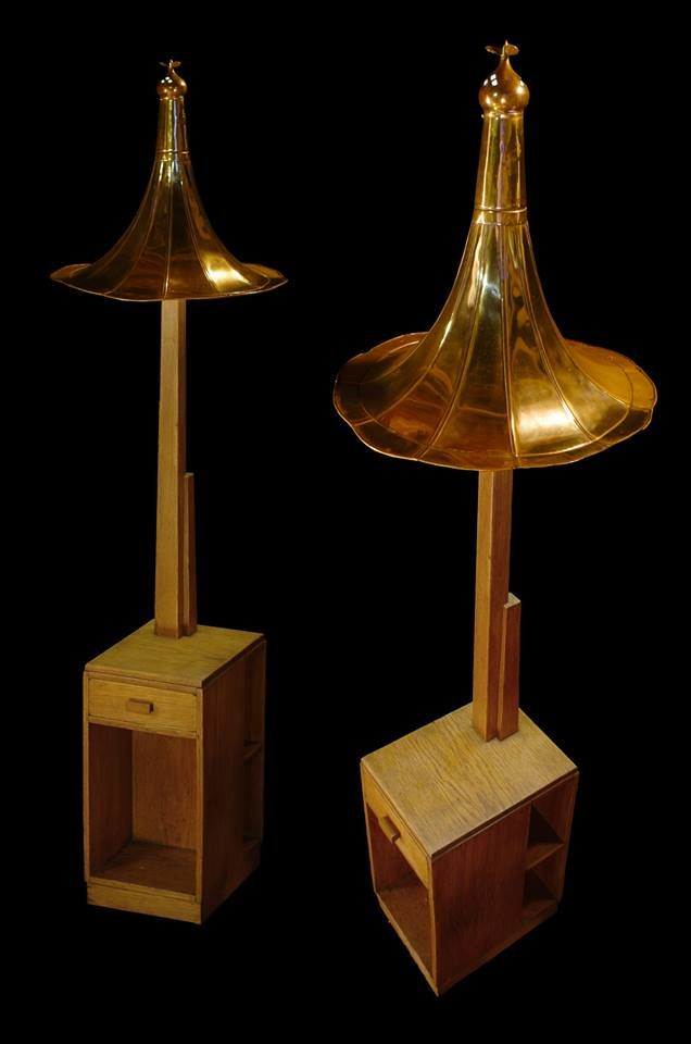 Oak reading lamp Brass and Copper from around the workshop