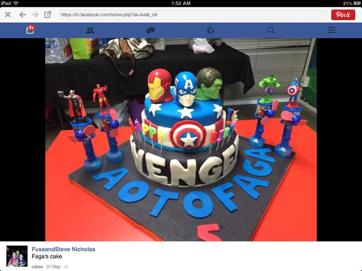 Super heroes themed cake for a 5th birthday 2015
