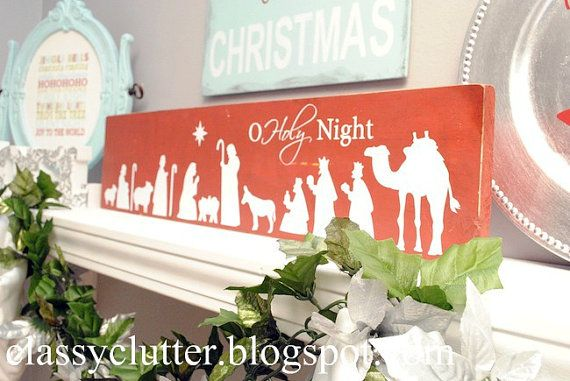 O Holy Night Nativity Christmas decal applied to a painted board - This is the perfect craft for a girl's night, young women's, or relief society activity!