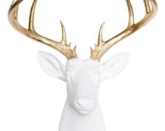 Faux Taxidermy Deer Head in Antique White   The Tobrin Resin