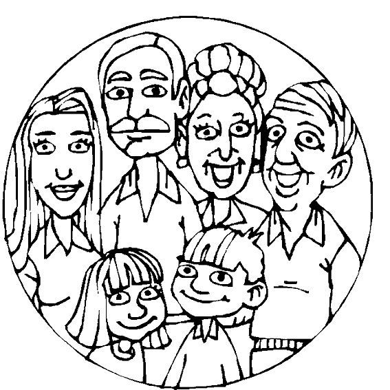 Family Faces Coloring Page Warna