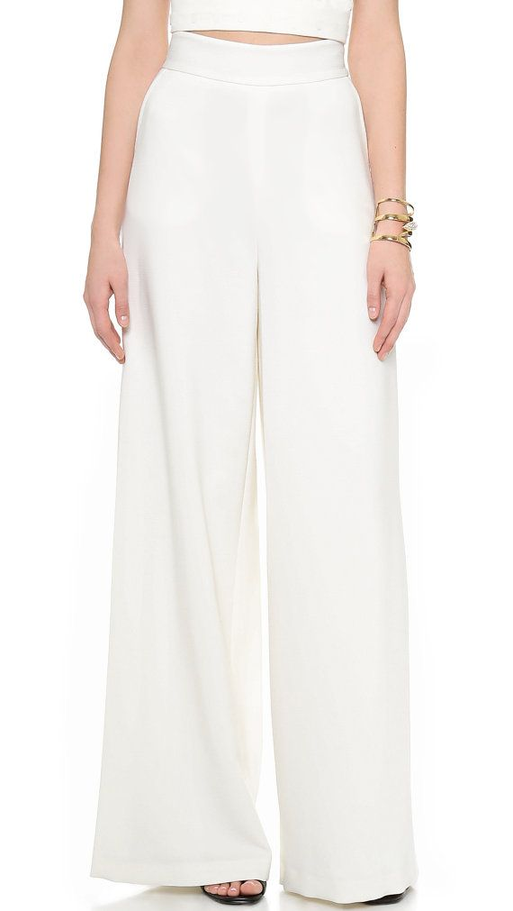 High waist wide pants made of Crepe Satin High Fashion by Gorgones
