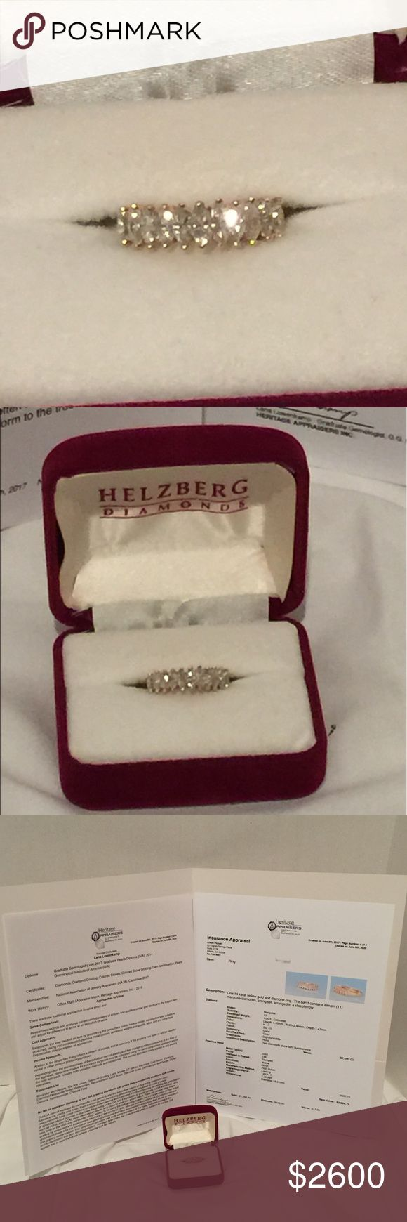 Marquis Diamond 14k Ring Band Steeple Row Exquisite marquis diamond 14k ring. Vintage Helzbergs. 11 brilliant sparkling marquis diamonds set in steeple row fashion.Professional appraisal just done in this ring and appraisal good to 2020.  Total Value: $3,626.75 Diamonds - 11 1.00 tcw est. Set in steeple row prong set  dimensions: 4.4 cm x 2.45cm x 1.47cm Color: H - I Clarity: SI2 - I1 Cut. Marquis Value of Diamonds: $2,800.00 Metal type: Gold Purity: 14K Color: Yellow Marks: 14KP. F Weight…